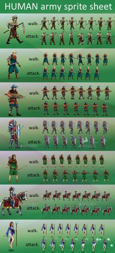 Human Army game sprite sheet - Sprites Game Assets