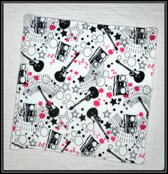 Burp Cloth  Pink Paint Guitar and Boombox Flannel  by geekabyebaby, $7.00