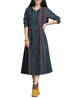 Chinese Style Women Floral Printed Long Sleeve A-Line Maxi Dress