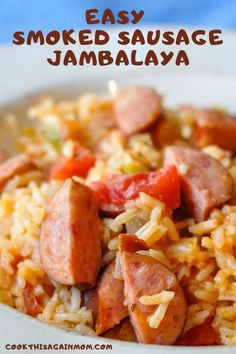 Because most of the ingredients can probably be found in your pantry, this Easy Smoked Sausage Jambalaya makes a great dinner on a busy weeknight. Sausage Crockpot Recipes, Smoked Sausage Recipes, Pork Recipes, Cooking Recipes, Sausage Meals, Donut Recipes, Yummy Recipes, Dinner Recipes, Kitchens