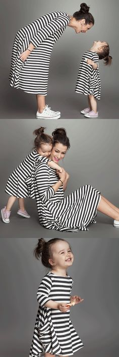 BKLD2017 Spring Autumn New Long Sleeve Loose Striped Family Matching Mother Daughter Dress Clothes Mom Kids Girl Outfits Dresses