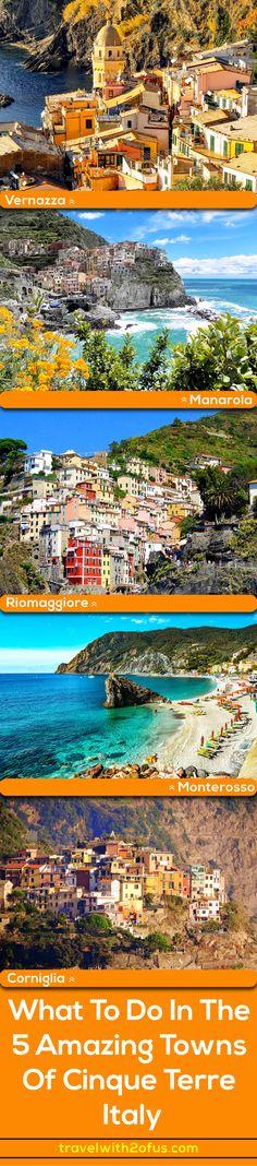 Cinque Terre is considered one of the most breathtaking destinations in Italy. Cinque Terre's five coastal villages are; Monterosso al Mare, Vernazza, Corniglia, Manarola and Riomaggiore.