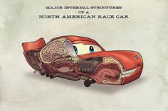 "Jake Parker's ""Automobile Anatomy"" Anthropomorphic Race Cars Inspired by Disney/Pixar's Cars"
