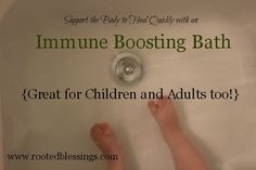 Support Quick Healing with an Immune Boosting Bath 1/2 cup Epsom Salt 1 T Coconut Oil 5-6 drops of Thieves Essential Oil– I recommend Young Living or another pure and well-respected brand. Just run a warm bath and add all the ingredients. Epsom Salt and Coconut Oil are great mild detoxifiers. Thieves oil is a very helpful immune system stimulant.
