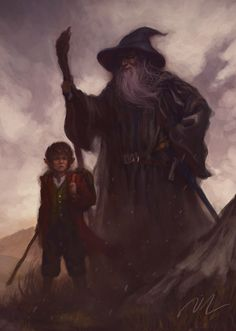 Immagine di https://upload.wikimedia.org/wikipedia/commons/e/ed/Over_Hill_-_Bilbo_and_Gandalf_by_Joel_Lee.jpg.