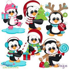 Holiday Penguins~SVG-MTC-PNG plus JPG Cut Out Sheet(s) Our sets also include clipart in these formats: PNG & JPG