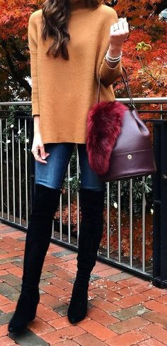 #winter #fashion / Camel Turtleneck + Burgundy Leather Tote Bag + Black OTK Boots