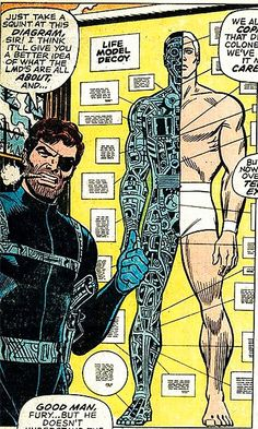 Nick Fury explains the LMD Comic Book Artists, Comic Books Art, Comic Art, Marvel Heroes, Marvel Comics, Comic Book Frames, Jack Kirby Art, Jim Steranko, Joe Kubert
