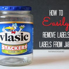 How To Easily Remove Labels: It does work if you want to wipe it down few time with towel paper the best idea is just to allow the jar to soak in water all night then remove the label by scrapping it with knife then use heavy duty sponge to scrape the glue off