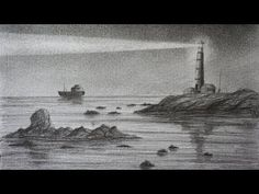 Horse Drawings, Pencil Art Drawings, Art Drawings Sketches, Boat Drawing, Painting & Drawing, Lighthouse Drawing, Charcoal Sketch, Arte Horror, Landscape Drawings