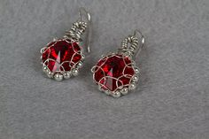 Red Crystal Rivoli Earrings by PiccolinaJewelry on Etsy, $30.00