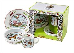 Lynn Chase Barn Dance Porcelain 3-Piece Set : Children will delight in these whimsical menageries that are beautifully packaged.Barn Dance features barnyard babies.