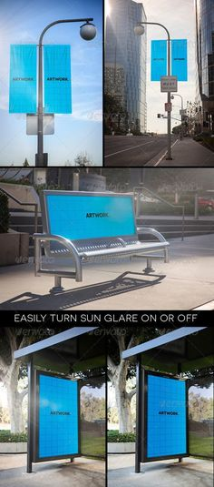 35 Bus Stop And Billboard Signage Mockup PSD Template