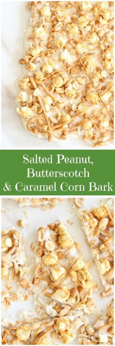 Salted Peanut Butterscotch Caramel Corn Bark is sweet, salty, and super quick to make! It's got a little bit of everything! Popcorn Recipes, Candy Recipes, Snack Recipes, Cooking Recipes, Snacks, Easy Desserts, Delicious Desserts, White Chocolate Bark, Bark Recipe