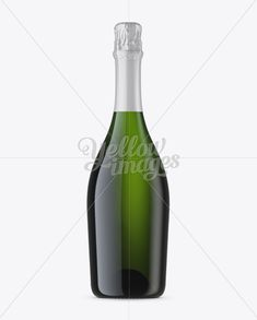 Green Glass Champagne Bottle Mockup – Front View