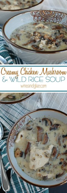 Creamy Chicken Mushroom and Wild Rice Soup | An earthy and hearty soup perfect for fall and winter