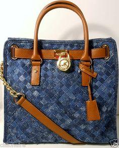 $250.00 Michael Kors Large Woven Blue Denim Hamilton Handbag NWT + FREE GIFT