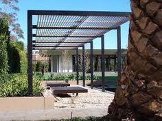 Image result for gabion wall with l shaped steel pergola