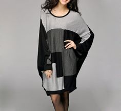 Fashion Black Grey Contrast Knit Tshirt/Loose by MordenMiss, $65.00  -  etsy, cotton, check out store.  want.         lj