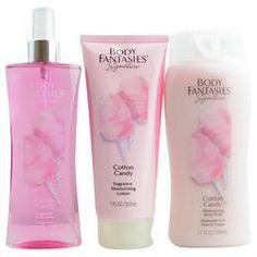 Body Fantasies Cotton Candy Body Spray 8 oz & Body Lotion 7 oz & Body Wash 12 oz by Body Fantasies