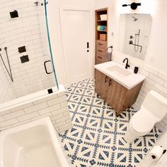 Our front bathroom is finally done ✅ Totally in love with the floor tiles 😍 Bathroom Floor Tiles, Basement Bathroom, Tile Floor, Reece Bathroom, Style Tile, Tulum, Cement, Flooring, Home Decor