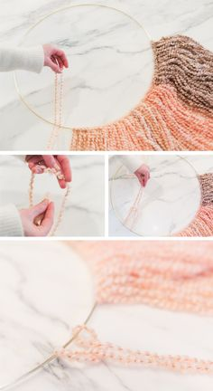Inspired Idea: DIY Gold Ring Wall Hanging Read on to see how to make this beautiful gold ring wall hanging… Diy Gold Rings, Gold Diy, Yarn Crafts, Diy And Crafts, Arts And Crafts, Diy Wall Art, Diy Art, Ideias Diy, Diy Chandelier