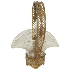 Wonderful French Gilt Bronze Roses Basket Etched Crystal Glass Bowl Centerpiece | From a unique collection of antique and modern bowls and baskets at https://www.1stdibs.com/furniture/decorative-objects/bowls-baskets/