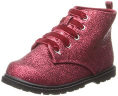 Natural Steps Flash Bootie (Infant/Toddler/Little Kid),Red Glitter,2 M US Infant. Lace up. Padded sock.
