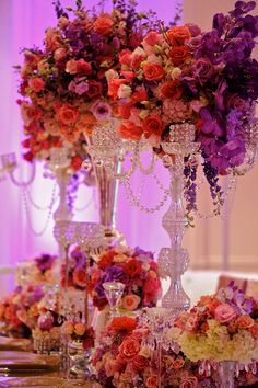 Gorgeous crystal chandelier centerpieces from Kordell & Porsha Stewart. Wedding by Tiffany Cook Events