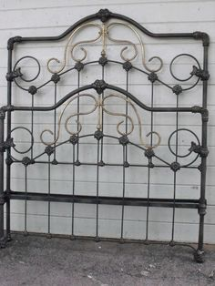 Great Victorian w/ A-Symmetric Brass circa 1880 Victorian Bedroom Furniture, Antique Iron Beds, Iron Headboard, Cast Iron Beds, Brass Bed, Multipurpose Room, Bedding, Bedrooms, Antiques