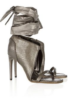 Rick Owens Metallic textured-leather sandals | THE OUTNET