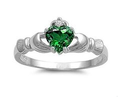 Sterling Silver Claddagh Ring with Emerald CZ Heart Stone Size 4-10; Comes with Free Gift Box and Velour Pouch: Jewelry: Amazon.com