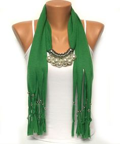 green pearl jewelry scarf with beads Christmas gift