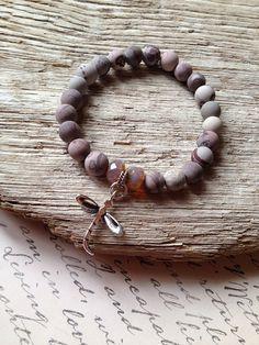 Pale Plum Boho Stacking Bracelet Matte by ThePurpleSquirrels