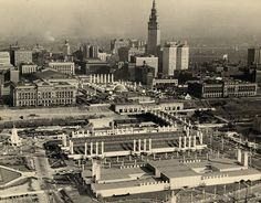 Aerial view of the Great Lakes Exposition and of downtown Cleveland, 1936-1937.