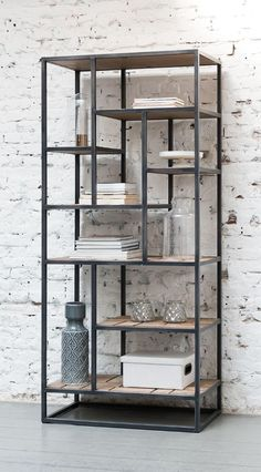 d-Bodhi # Mondrian # Bookcase # – # # # # – - TV-Gerät Mondrian, Etagere Bookcase, Steel Furniture, Clay Tutorials, Teak Wood, Bathroom Medicine Cabinet, Home And Living, Bookshelves, Sweet Home