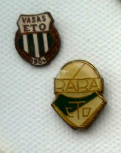 Vintage badges representing two periods in the naming history of a club from Győr in Hungary, Vasas ETO and Rába ETO, now known as Győri ETO FC.