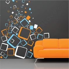 Just like Saturn has surrounded itself with thousands of funky cosmic rings, so should you! Select the size of the wall decal pack (Standard or Large) and then choose your color from our 40 color opti Orange Accent Walls, Orange Couch, Youth Rooms, Room Wall Painting, Bedroom Wall Designs, Geometric Wall Art, Wall Murals, Wall Decal, Diy Wall Decor