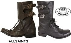 """""""Steve Madden is the king of 'inspiration' pieces, and it just so happens that SM got inspired by AllSaints' Damisi buckle boot.  In turn, he has created the ALLEYY; a boot very similar in design and accessory, but slightly varied in price point.""""  The ALLEYY runs at $190, whereas the Damisi spots at $280"""