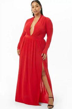 f2f389b7024 Plus Size M-Slit Maxi Dress  35.00  fashion  ootd  outfit  oufits  moda   plussize  dress  dresses  plussizeclothing  plussizedress  curve  curvy   sexy ...