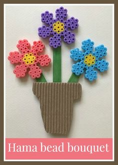 Hama bead bouquet craft, lovely little craft using the Hama bead flower peg board, can also be made using Perler or other melty beads Melty Bead Patterns, Pearler Bead Patterns, Beading Patterns, Perler Patterns, Preschool Crafts, Easter Crafts, Crafts For Kids, Craft Kids, Kids Diy