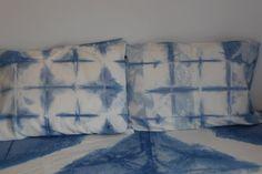 hand dyed indigo shibori pillowcases