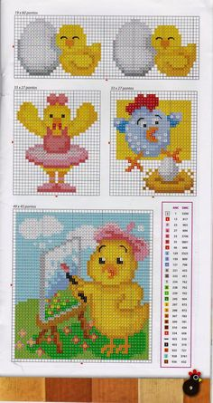 Easter chicks perler bead pattern