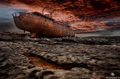 """Sunset over shipwreck in Aran Island """"we have really messed up the world! Abandoned Ships, Abandoned Places, Haunted Places, Ghost Ship, Naval, Shipwreck, Connemara, Sunset Photos, Titanic"""