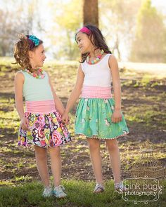 The Everyday Play Skirt is an easy knit woven sewing pattern. The waistband is made with knit fabric, and the skirt can be made entirely in knit