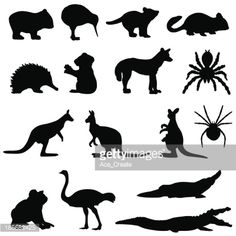 Vector Art : Australian animals silhouette set