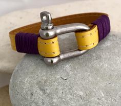 Yellow leather bracelet with sailing pin shackle clasp