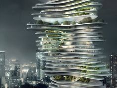 CLOSE UP view of Twisted building towering above the city skyscrapers which shows DETAILS of green space trees & gardens visible from outside tower: Urban Forest project in Chongqing, China. Beijing architects MAD in 2009 designed skyscraper with gardens at each level. Each of 70 floors has a different abstract curved shape, layered slightly off-center from it neighboring floors. inspired by mountains around city. - Research, DdO:)…