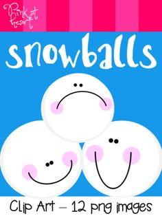 Snowballs Clip Art from Pink at Heart on TeachersNotebook.com -  (15 pages)  - 12 png Snowball images!