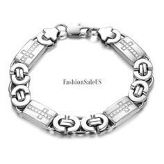 11mm Men's Fashion Stainless Steel Bracelet Vintage Cross Heavy Hand Chain #Unbranded #bracelet